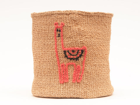 LLAMA: Animal Motif Embroidered Woven Storage Basket