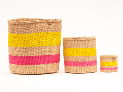 MAZAO: Fluoro Pink and Yellow Woven Storage Basket
