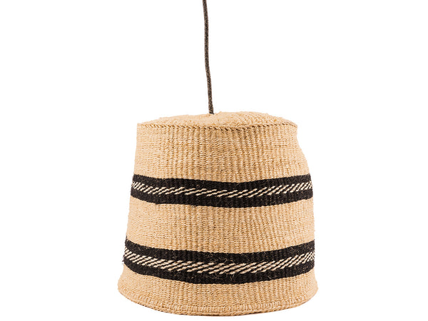 MJI: Black/Natural Thick Stripe Pendant Lampshade