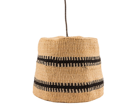 MKUU: Black/Natural Tooth Stripe Pendant Lampshade