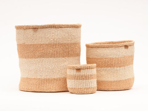 MSETO: Sand and Natural Wide Stripe Woven Storage Basket