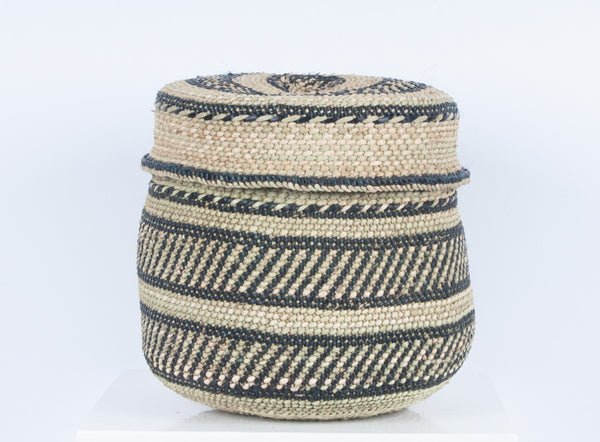 NYUMBA: Black and Natural Lidded Storage Baskets - Milulu Baskets - The Basket Room