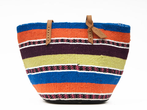 LUNA: Handwoven Blue and Orange Wool Tote Bag