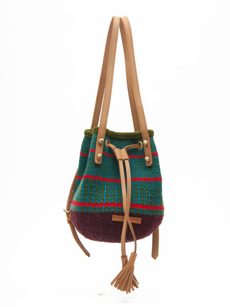 AJABU: Handwoven Green and Red Backpack