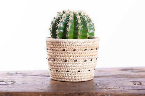 KIMBIA: Black Spotted Beaded Basket