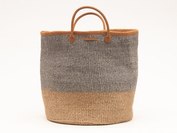 PILI: Grey and Natural Colour Block Woven Laundry Basket