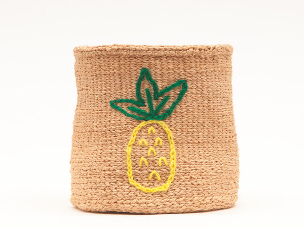 PINEAPPLE: Fruit Motif Embroidered Woven Storage Basket