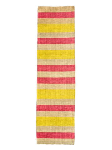 MAKALI: Pink & Yellow Woven Sisal Floor Runner