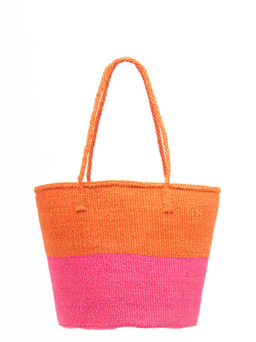 MWANZO: Orange and Pink Colour Block Shopper