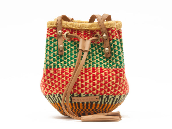 MAKOSA: Handwoven Green and Red Wool Bucket Bag