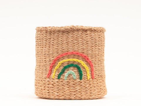 RAINBOW: Multicolour Embroidered Woven Storage Basket