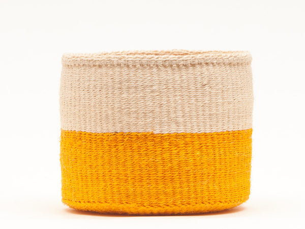 RUKIA: Orange Colour Block Woven Basket
