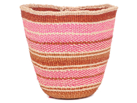 KUMI: Small White and Pink Sisal Basket
