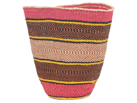 TABASAMU: Medium Pink, Yellow and Black Sisal Basket