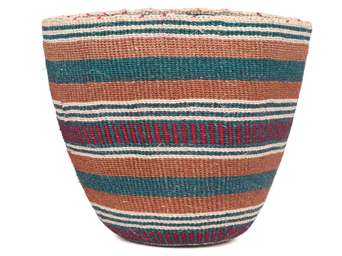YANIPA: Medium Teal and Red Sisal Basket