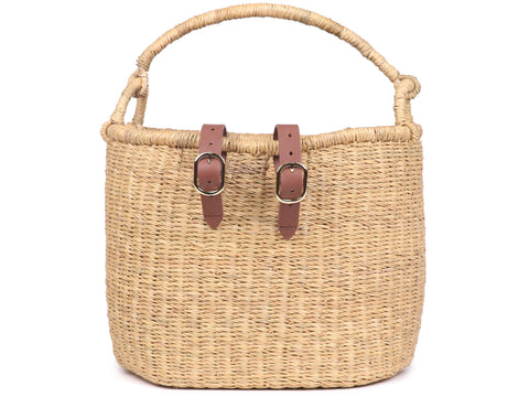 ASILI: Natural Oblong Bike Basket with Handle