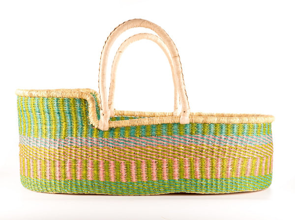 MUNA: Pastel Pink, Mint and Blue Woven Moses Basket