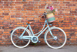 APANA: Handcrafted Pink and Turquoise Stripe Oblong Bike Basket