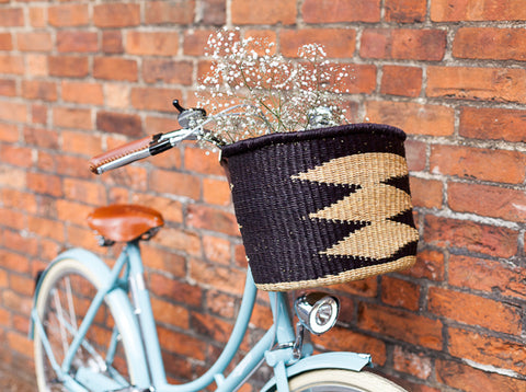 Ayme: Handcrafted Black Oblong Bike Basket