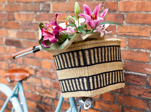FANTE: Handcrafted Black Stripe Rectangular Bike Basket - Bike Basket - The Basket Room