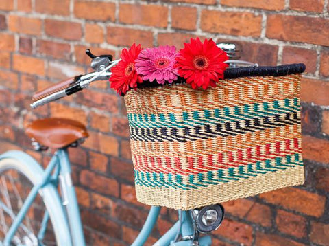 ASHANTI: Handcrafted Multicoloured Rectangular Bike Basket - Bike Basket - The Basket Room