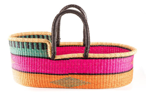 KALA: Bright Pink, Orange & Turquoise Woven Moses Basket
