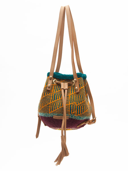 OMBI: Handwoven Orange and Teal Backpack