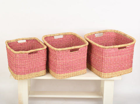 TABASAMU: Pink Striped Square Baskets - The Basket Room   - 1