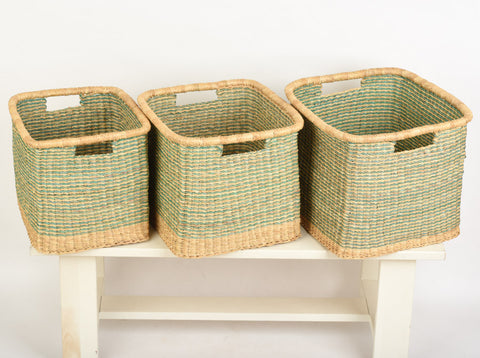 KUBEBA: Square Turquoise Striped Baskets - The Basket Room   - 1