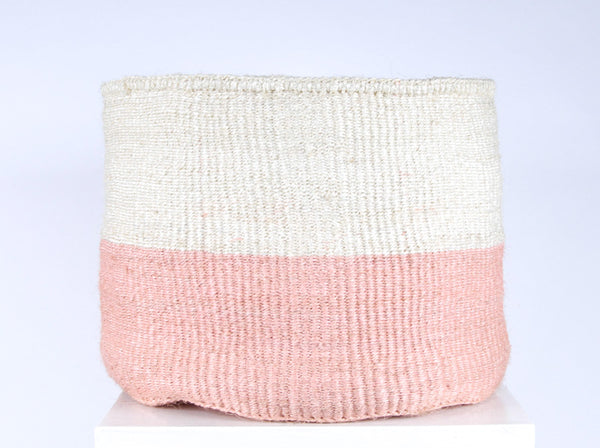 JIONI: XL Dusky Pink Storage Basket - Colour Block - The Basket Room
