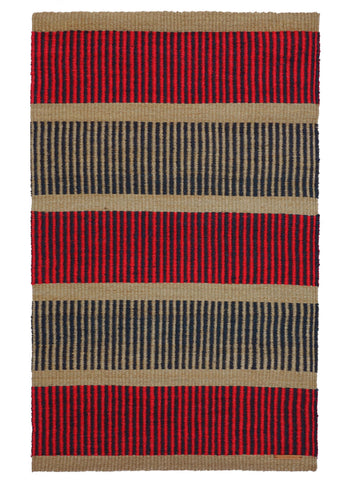 PANA: Small Natural, Raspberry & Black Woven Sisal Rug