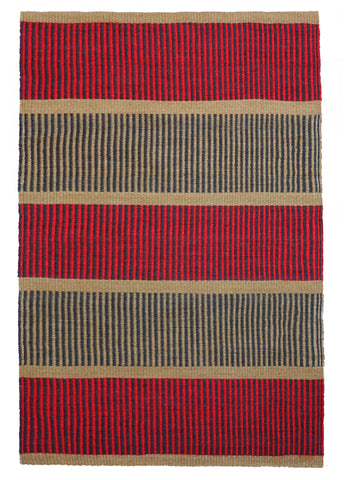 PANA: Large Natural, Raspberry & Black Woven Sisal Rug