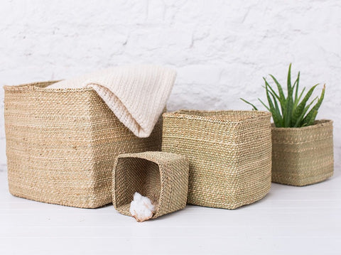RAHISI: Natural Square Storage Baskets - Milulu Baskets - The Basket Room