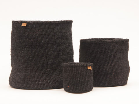 USIKU: Black Coal Woven Storage Basket