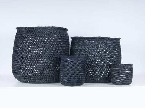 WAVU: Black Open Weave Storage Baskets - Milulu Baskets - The Basket Room