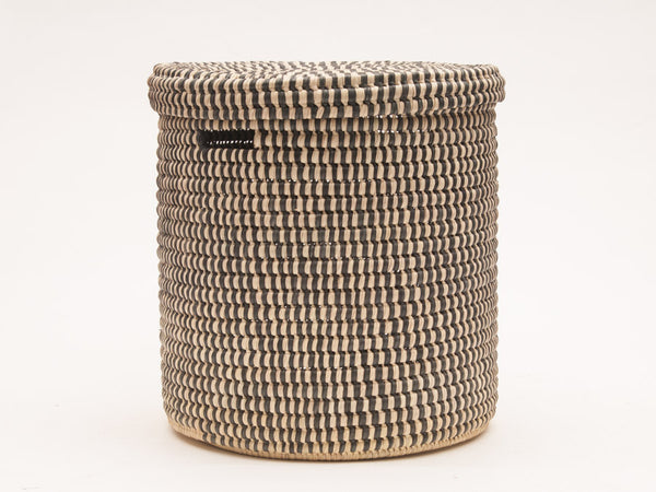 YULE : Brown Slate Check Lidded Laundry Basket