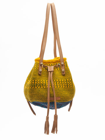 OMO: Handwoven Green and Yellow Backpack