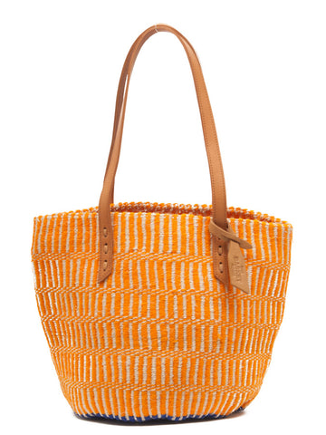 MBWEHA: Orange Wool and Sisal Tote Bag