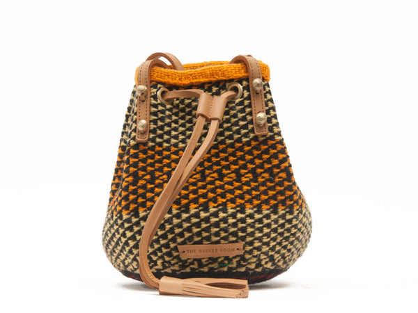 OKOA: Handwoven Orange and Brown Wool Bucket Bag