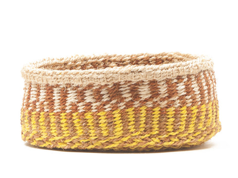 HESHIMA: Yellow and Brown Pattern Bread Basket