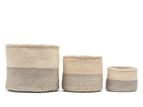 ITALE: Grey Colour Block Woven Basket