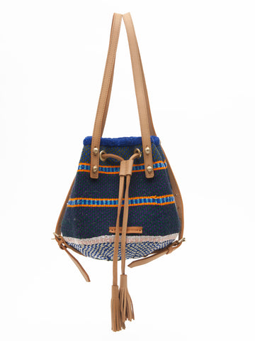 AMANI: Handwoven Blue and Orange Backpack