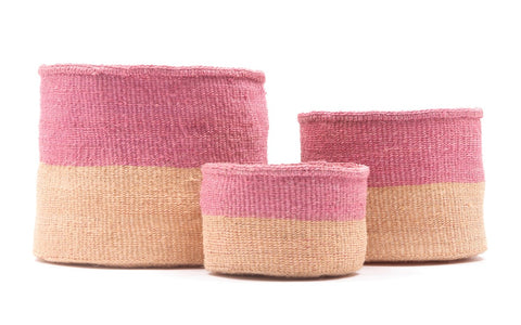 KETI: Sand & Dusty Pink Duo Colour Block Woven Basket