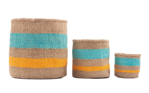 LIWALO: Orange & Turquoise Woven Storage Basket