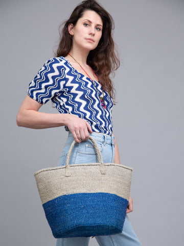KASUKU: Blue and Grey Colour Block Shopper