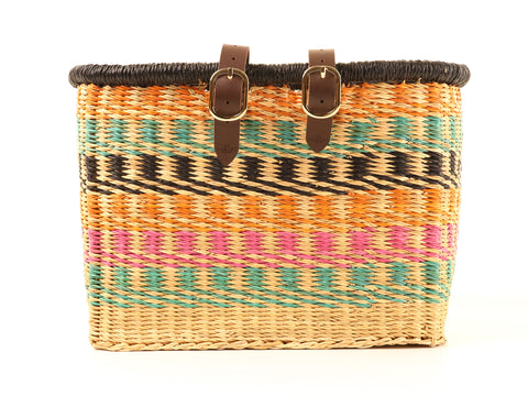 ASHANTI: Handcrafted Multicoloured Rectangular Bike Basket