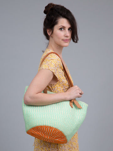 ZIWA: Neo Mint Wool and Sisal Tote Bag