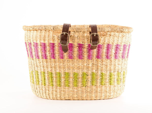 AKAN: Handcrafted Dusky Pink and Green Oblong Bike Basket