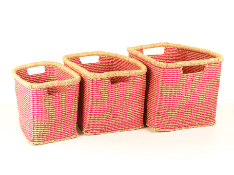 SOKO: Pink Stripe Rectangular Baskets