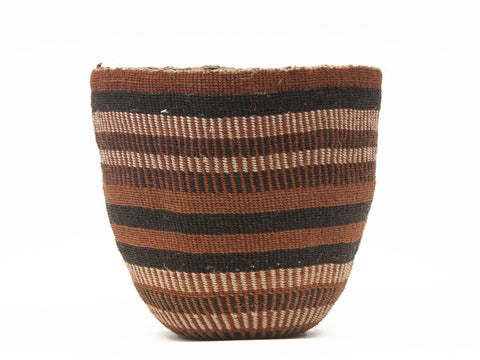 CHURA: Medium Brown & Black Sisal Basket